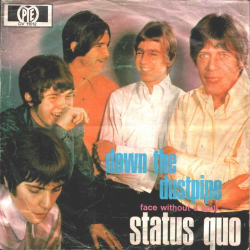 deutsches Cover der Status Quo Single 'Down the dustpipe'