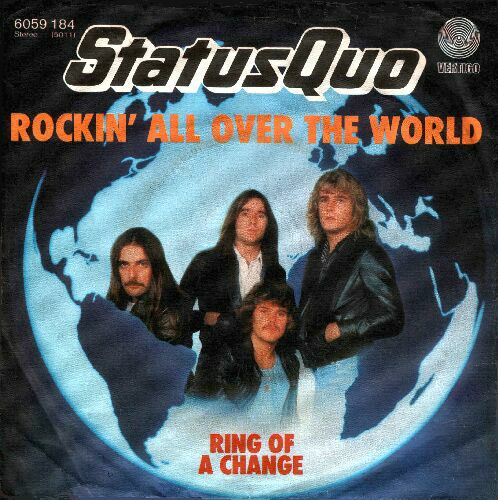 deutsches Cover der Status Quo Single 'Rockin all over the world'