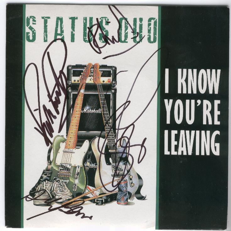 Cover of the french Status Quo Single 'I know you're leaving'.